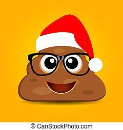 Poop emoji with Christmas hat, vector funny cartoon
