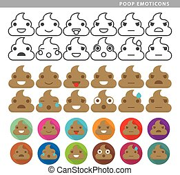 Set of poop emoticons with twelve expressions in line, color and shadow style.