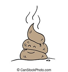 Poop icon. Funny cartoon character. Vector illustration