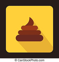 Poop icon in flat style