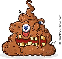 Poop Monster Cartoon Character with a Grotesque Melting Face...