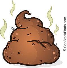 poop, pilha, caricatura
