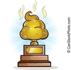 Poop Trophy Cartoon Illustration