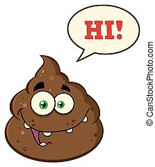 Poop With Speech Bubble And Text Hi