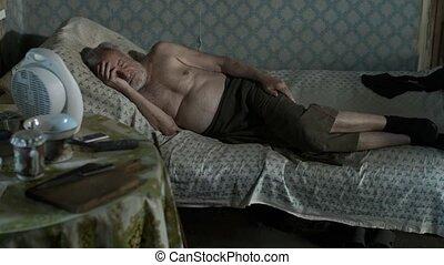 Poor abandoned man sleeping at home - Old poor man sleeping...