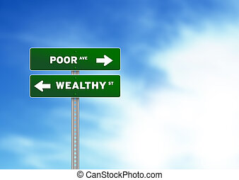 Poor and wealthy Road Sign - High resolution graphic of a...