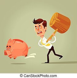 Poor bankrupt businessman office worker character running chase piggy bank with hammer. Financial crisis problems flat cartoon illustration graphic design concept