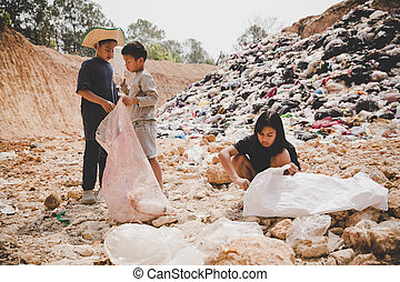 Poor children collect garbage for sale,, the concept of pollution and the environment, Recycling old rubbish, World Environment Day