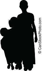 poor children silhouette vector