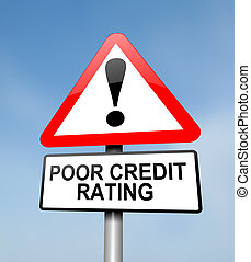 Poor credit rating. - Illustration depicting a red and white...