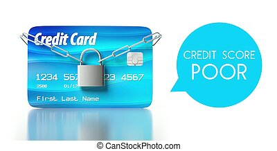 Poor credit score, card with padlock and chain