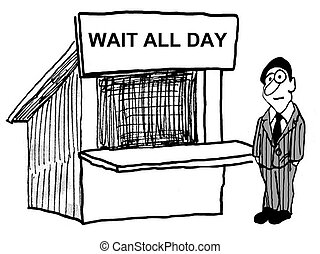 Cartoon of businessman who has to wait all day for good customer service.