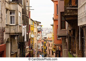 poor district Fatih in Istanbul, Turkey - Houses in a poor...