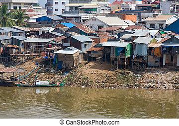 Poor district in Phnom Penh, Cambodia - The poor area near...