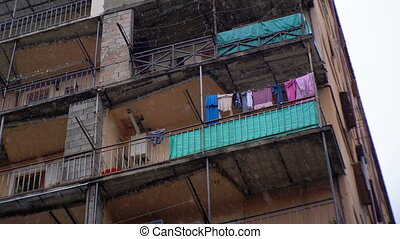 Poor district of the city. Clothes hanging on a clothesline...