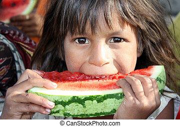 Poor Girl Eating Melon