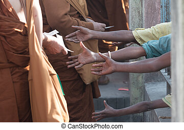 Poor people and human poverty concept - person hands begging...