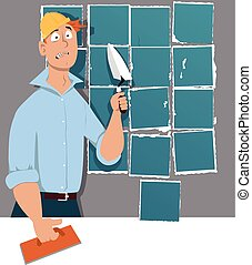Man with a trowel and a tiling float standing in front of a wall with poorly laid tiles, EPS 8 vector illustration