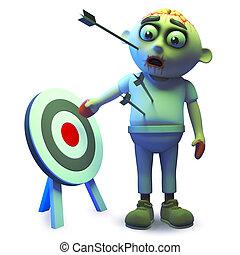 Poor undead zombie monster has lots of arrows in him, 3d illustration render