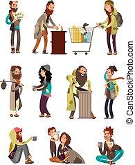 Poor unhappy homeless cartoon people needing financial help. Vector characters set