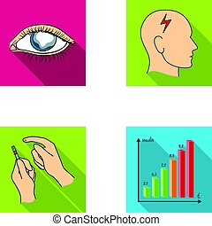 Poor vision, headache, glucose test, insulin dependence. Diabetic set collection icons in flat style vector symbol stock illustration web.