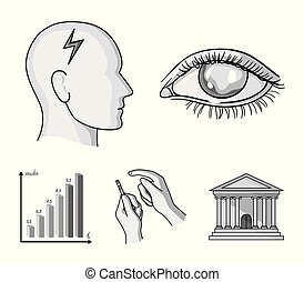 Poor vision, headache, glucose test, insulin dependence. Diabetic set collection icons in monochrome style vector symbol stock illustration web.