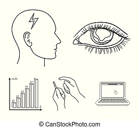 Poor vision, headache, glucose test, insulin dependence. Diabetic set collection icons in outline style vector symbol stock illustration web.