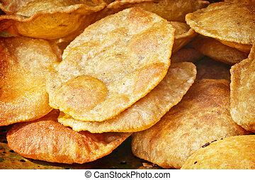 (poori), indio, sabroso,  Puri,  bread