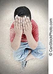 poorness, rue, pauvreté, pleurer, enfant, poussière