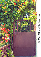 poort, in, tuin