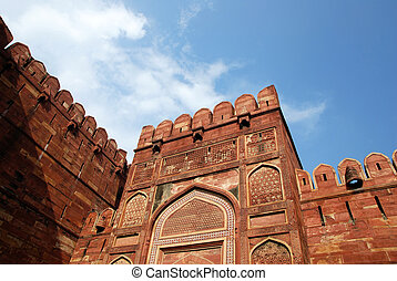 poort, ingang, agra, close-up, fort