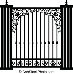 poort, vector, illustratie, ouderwetse