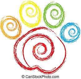poot printen, met, swirly, hart, logo