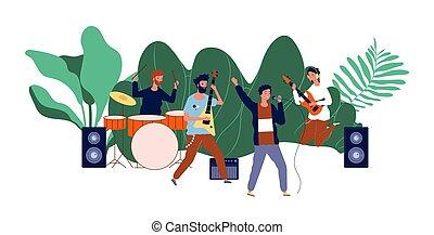 pop, équipe, festival, group., musiciens, bande, vecteur, concert., mâle, illustration, hommes, musique, événement, rocher, ou, garçons, plein air