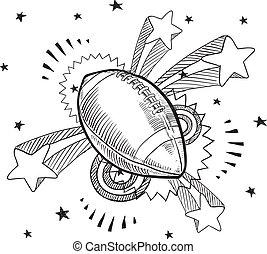 Pop American football sketch - Doodle style American...