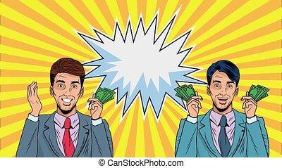 pop, animation, art, dollars, factures, hommes affaires