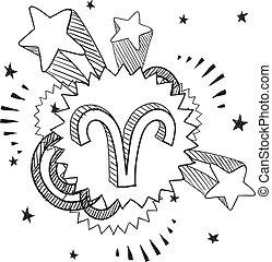 Pop Aries astrology symbol - Doodle style zodiac astrology...