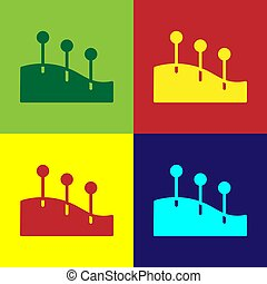 Pop art Acupuncture therapy icon isolated on color background. Chinese medicine. Holistic pain management treatments. Vector