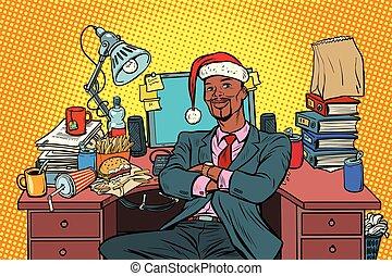 pop art African businessman, Christmas workplace