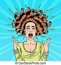 Pop Art Aggressive Furious Screaming Woman with Flying Hair and