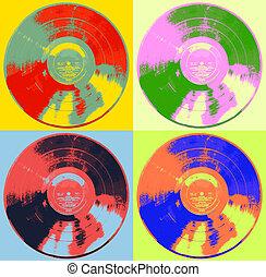Pop Art Record Albums four colors
