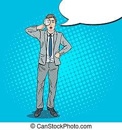 Pop Art Amazed Businessman with Magnifier. Vector illustration
