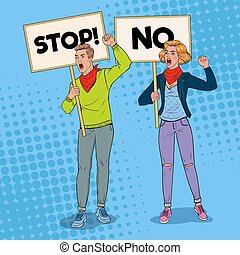 Pop Art Angry Man and Woman Protesting on the Picket with Banners. Strike and Protest Concept. People Shouting on Demonstration. Vector illustration