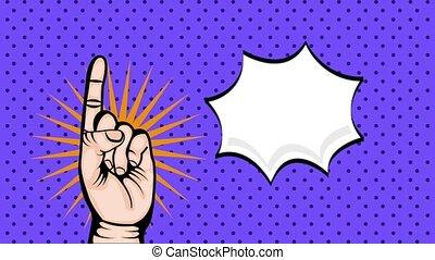 pop art animation - forefinger hand gesture speech bubble...