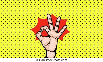 pop art animation - pop art background with hand showing...