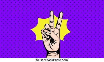 pop art animation - pop art background with hand victory...