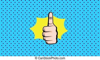 pop art animation - pop art thumbs up hand sign like speech...