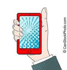 Pop art background with male hand with thumb up holding a smartphone with dot screen for your offer . Vector colorful hand drawn illustration in retro comic style.