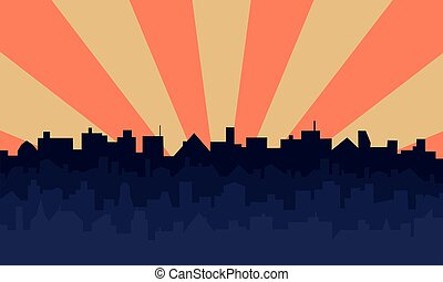 Pop art background with silhouettes of buildings