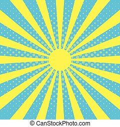 Pop art background with sun beam rays on a blue sky...